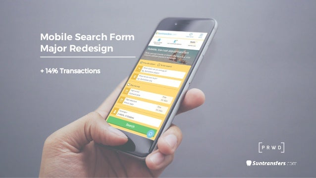 + 14% Transactions Mobile Search Form Major Redesign