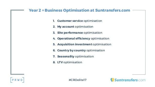 Year 2 = Business Optimisation at Suntransfers.com 1. Customer service optimisation 2. My account optimisation 3. Site per...