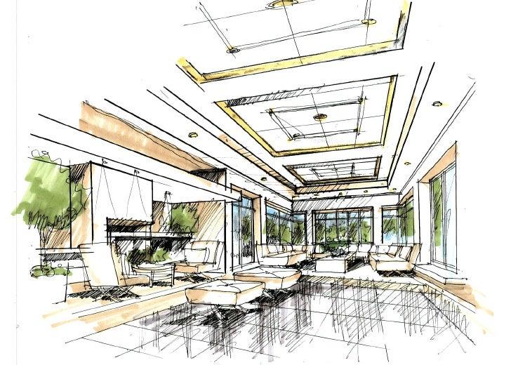 paul sang interior sketchSketch Of An Interior #12
