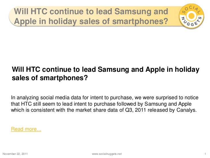 Will HTC continue to lead Samsung and       Apple in holiday sales of smartphones?      Will HTC continue to lead Samsung ...