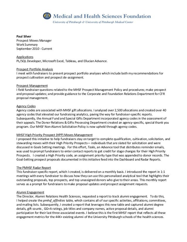 Paul silver resume & prospect moves mgr summary