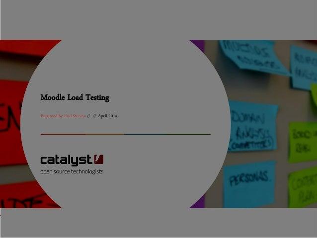 Moodle Load Testing Presented by Paul Stevens // 17 April 2014