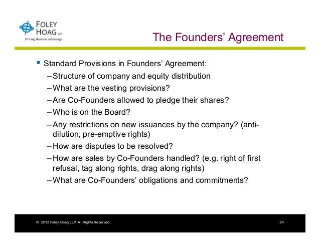 Founder Equity Issues Structuring Founder Relationships Stockholder