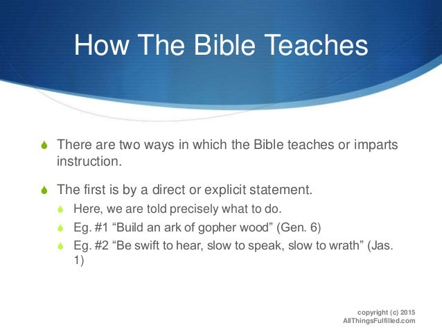 Necessay inference bible