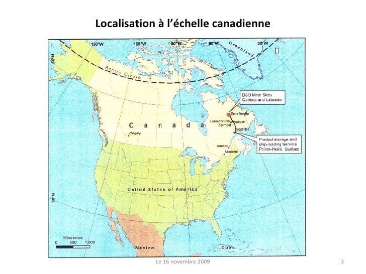 Localisation à l'échelle canadienne Le 16 novembre 2009