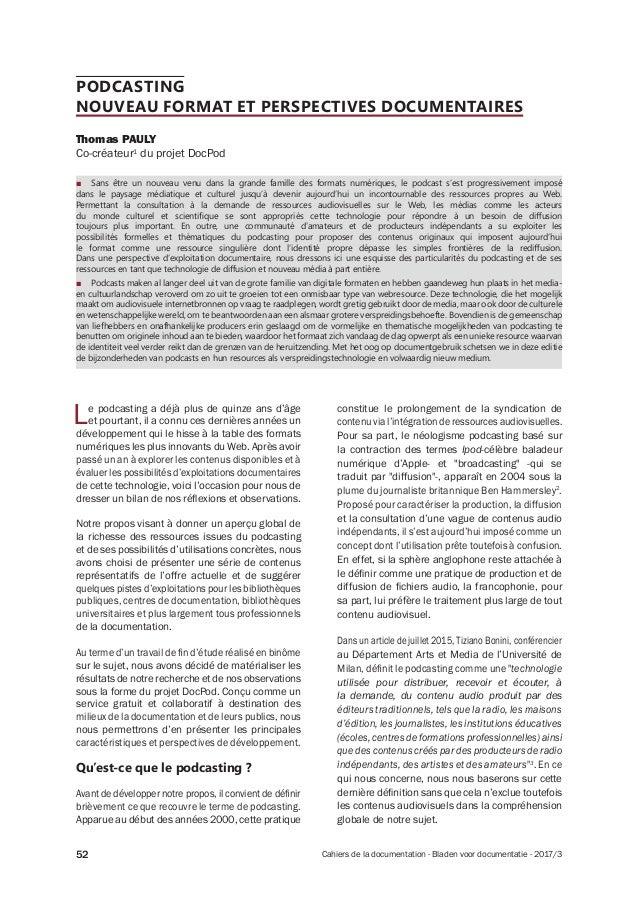Cahiers de la documentation - Bladen voor documentatie - 2017/352 PODCASTING NOUVEAU FORMAT ET PERSPECTIVES DOCUMENTAIRES ...