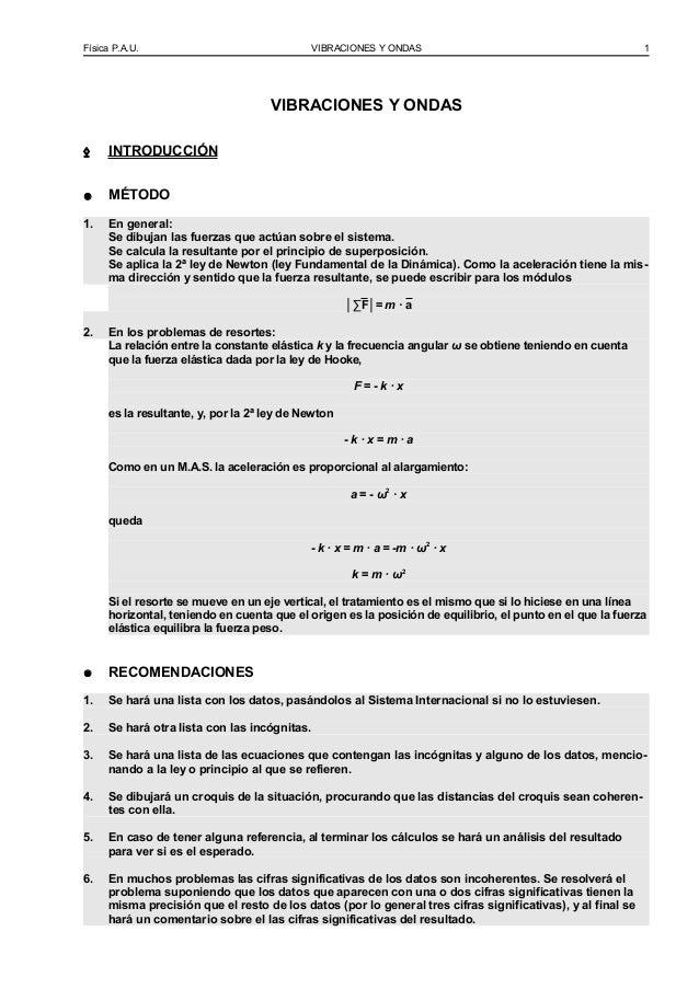 Física P.A.U. VIBRACIONES Y ONDAS 1VIBRACIONES Y ONDAS◊ INTRODUCCIÓN● MÉTODO1. En general:Se dibujan las fuerzas que actúa...
