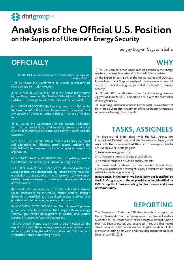 Analysis of the Official U.S. Position on the Support of Ukraine's Energy Security Sergey Logvin, Sagatom Saha 1) to SUPPO...