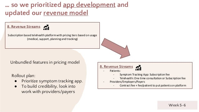 … so we prioritized app development and updated our revenue model 8. Revenue Streams Subscription based telehealth platfor...