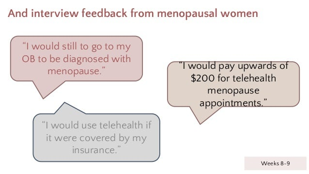 """And interview feedback from menopausal women Weeks 8-9 """"I would still to go to my OB to be diagnosed with menopause."""" """"I w..."""