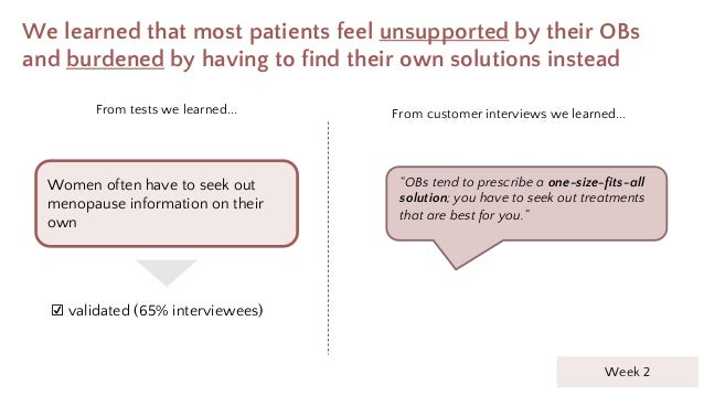 """We learned that most patients feel unsupported by their OBs and burdened by having to find their own solutions instead """"OB..."""