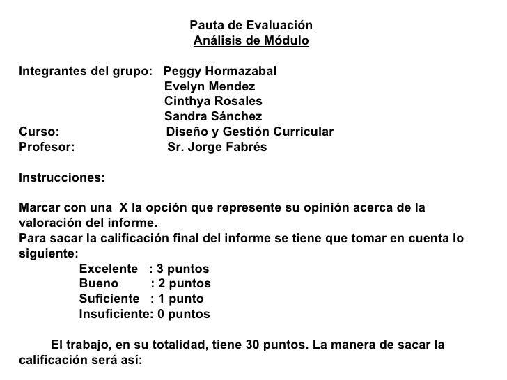 Pauta de Evaluación Análisis de Módulo Integrantes del grupo:  Peggy Hormazabal Evelyn Mendez Cinthya Rosales Sandra Sánch...