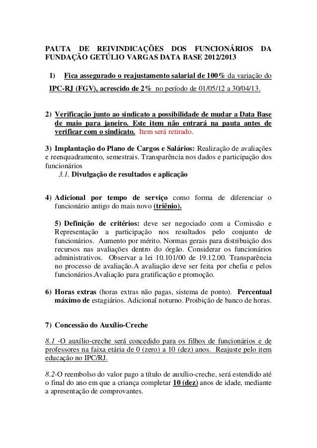 PAUTA DE REIVINDICAÇÕES DOS FUNCIONÁRIOS DA FUNDAÇÃO GETÚLIO VARGAS DATA BASE 2012/2013 1) Fica assegurado o reajustamento...