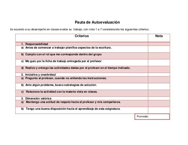 Pauta de AutoevaluaciónDe acuerdo a su desempeño en clases evalúe su trabajo, con nota 1 a 7 considerando los siguientes c...