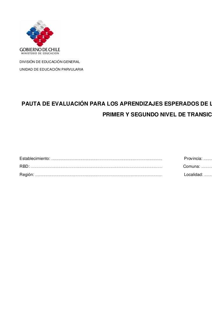 DIVISIÓN DE EDUCACIÓN GENERALUNIDAD DE EDUCACIÓN PARVULARIA  PAUTA DE EVALUACIÓN PARA LOS APRENDIZAJES ESPERADOS DE LOS PR...