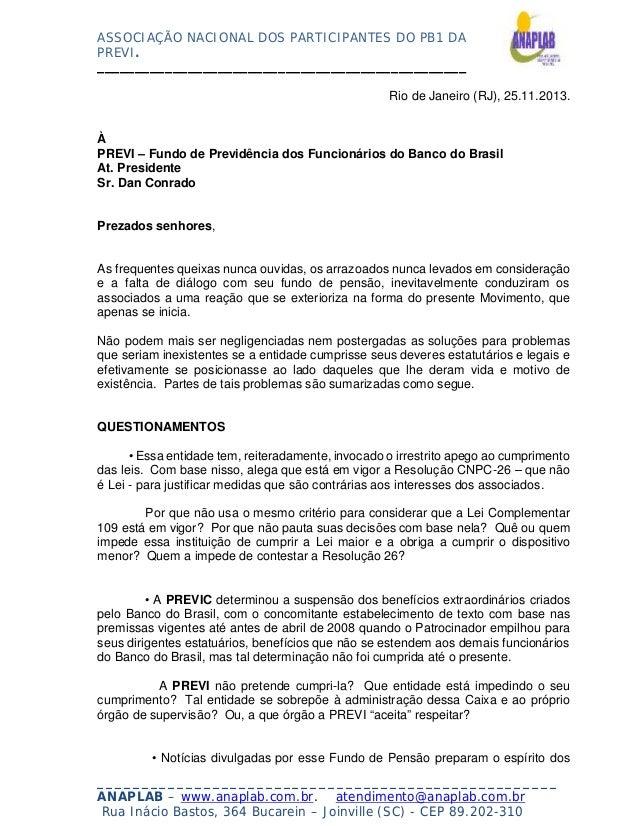 ASSOCIAÇÃO NACIONAL DOS PARTICIPANTES DO PB1 DA PREVI. _________________________________________________ Rio de Janeiro (R...