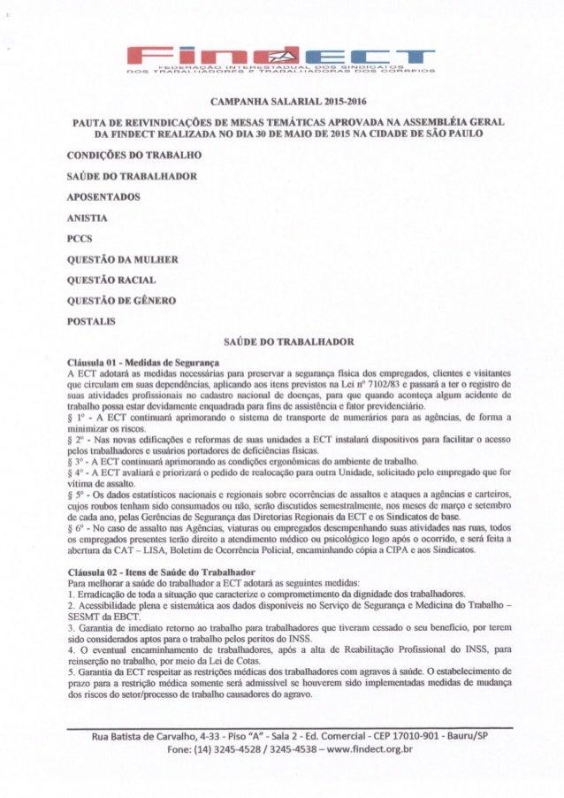 Pauta de reivindicações 2015 2016 - protocolada na ect - mesa temática