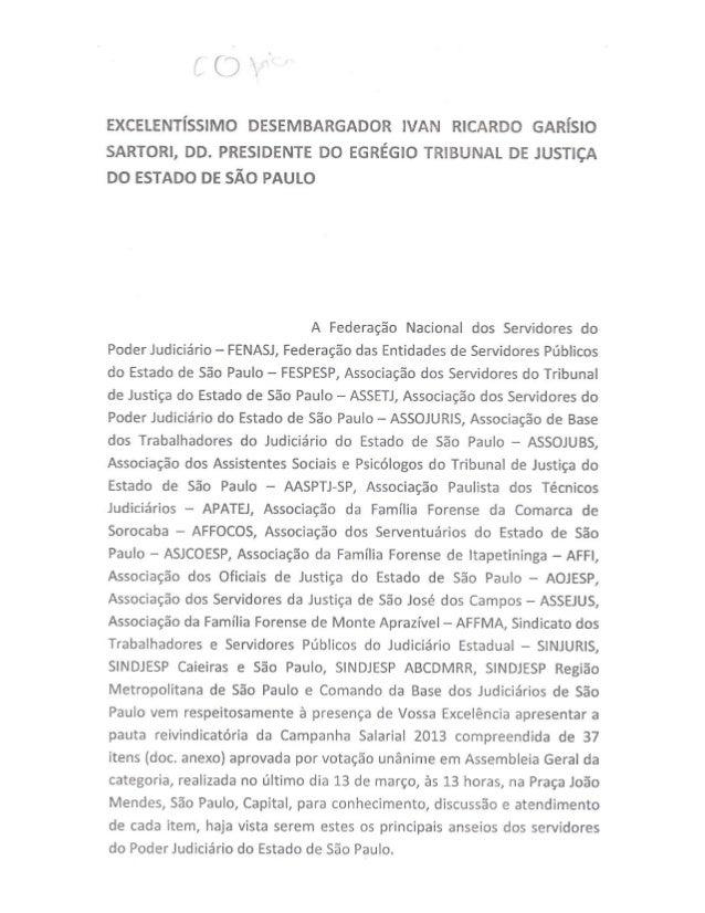 Pauta de Reivindicações dos Servidores do Judiciário de São Paulo 2013