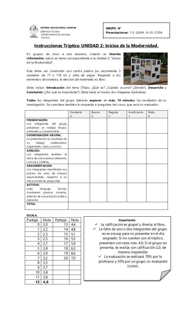 SISTEMA EDUCACIONAL LIAHONA GERENCIA TÉCNICA DEPARTAMENTO DE HISTORIA Nb6 8vo. Instrucciones Tríptico UNIDAD 2: Inicios de...