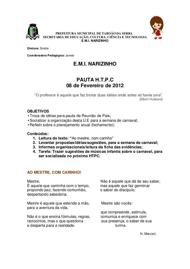 PREFEITURA MUNICIPAL DE TABOÃO DA SERRA            SECRETARIA DE EDUCAÇÃO, CULTURA, CIÊNCIA E TECNOLOGIA                  ...