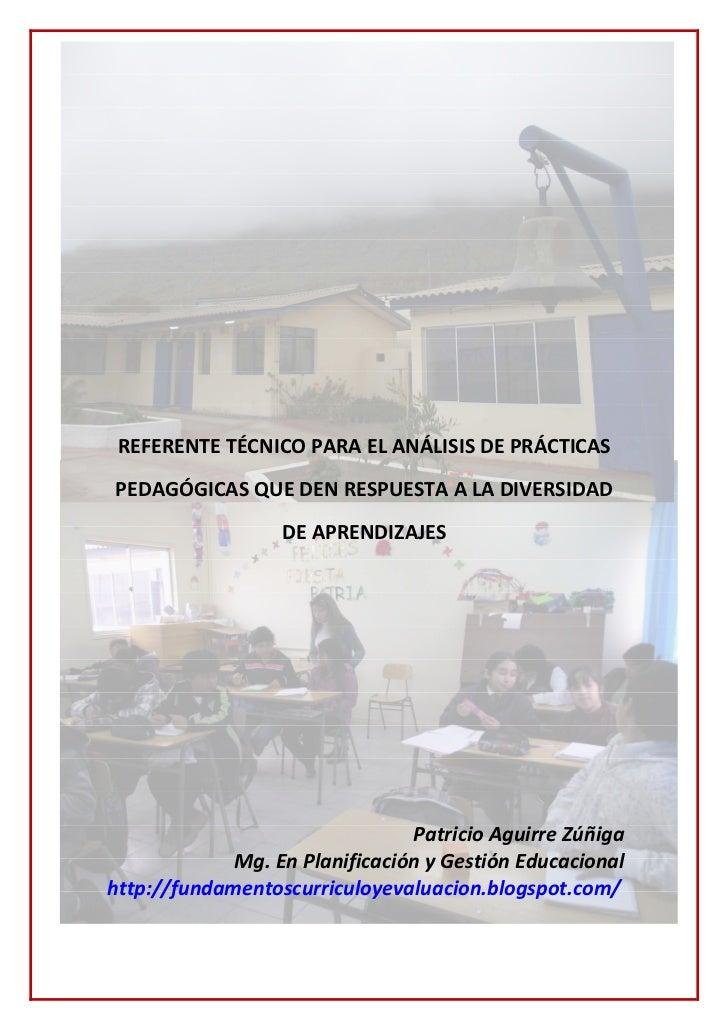 REFERENTE TÉCNICO PARA EL ANÁLISIS DE PRÁCTICASPEDAGÓGICAS QUE DEN RESPUESTA A LA DIVERSIDAD                  DE APRENDIZA...