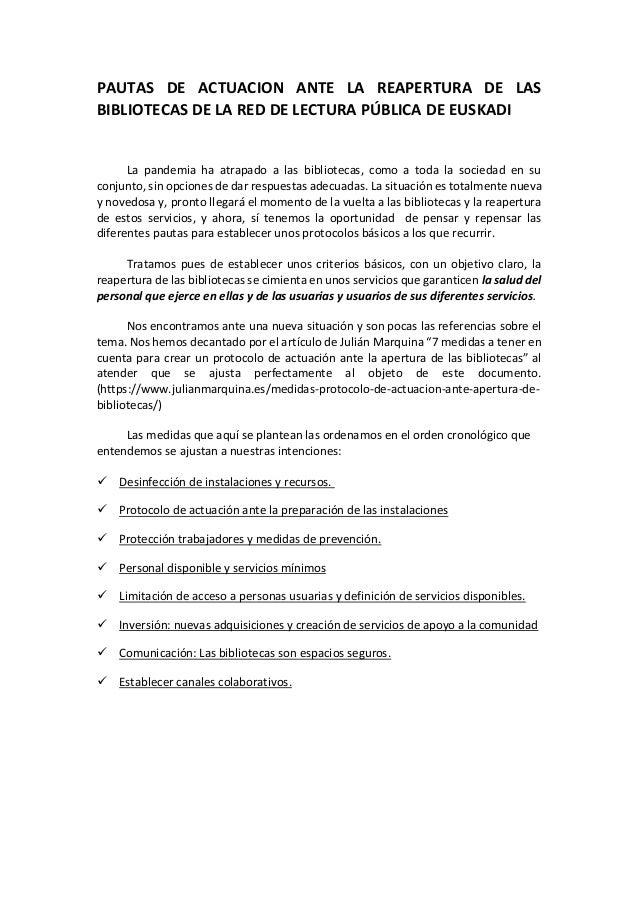 Pautas de actuación ante la reaperturade las bibliotecas de la Red de Lectura Pública de Euskadi Slide 2