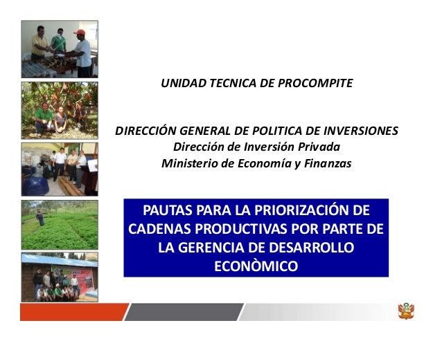 UNIDADTECNICADEPROCOMPITEDIRECCIÓNGENERALDEPOLITICADEINVERSIONES         DireccióndeInversiónPrivada       Mini...
