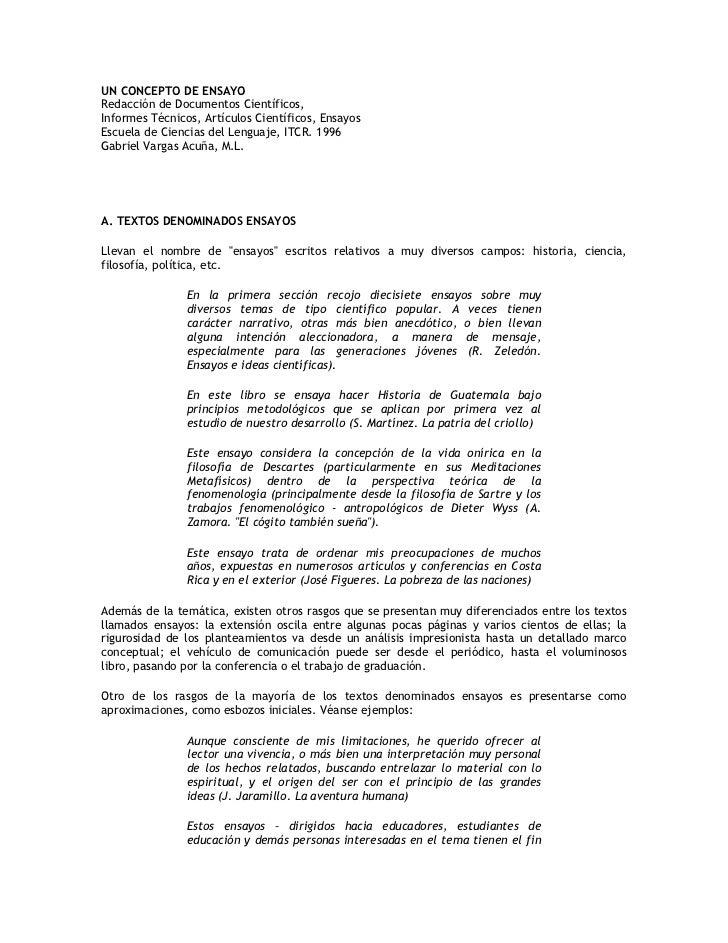 UN CONCEPTO DE ENSAYO Redacción de Documentos Científicos, Informes Técnicos, Artículos Científicos, Ensayos Escuela de Ci...