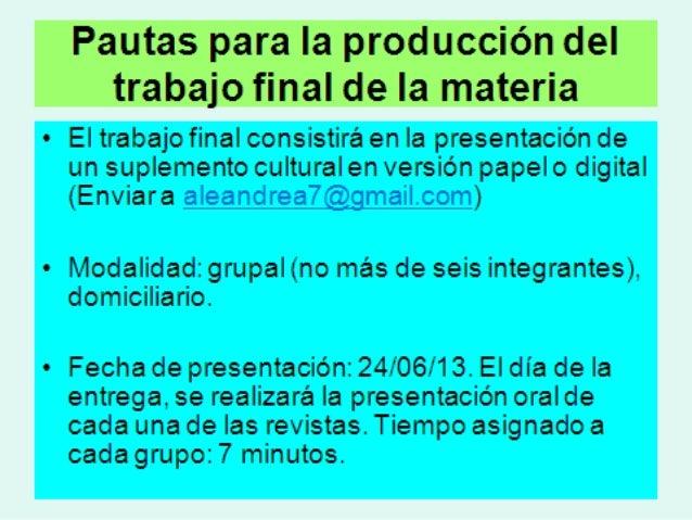 Pautas generales de presentación del suplemento cultural