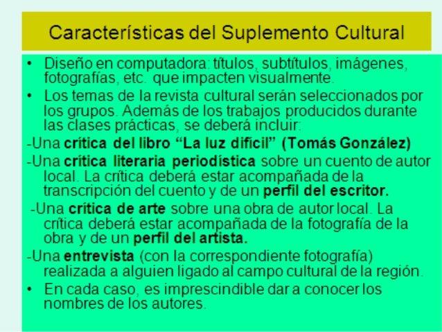 Pautas generales de presentación del suplemento cultural Slide 2