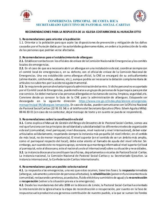 CONFERENCIA EPISCOPAL DE COSTA RICA SECRETARIADO EJECUTIVO DE PASTORAL SOCIAL-CARITAS RECOMENDACIONES PARA LA RESPUESTA DE...