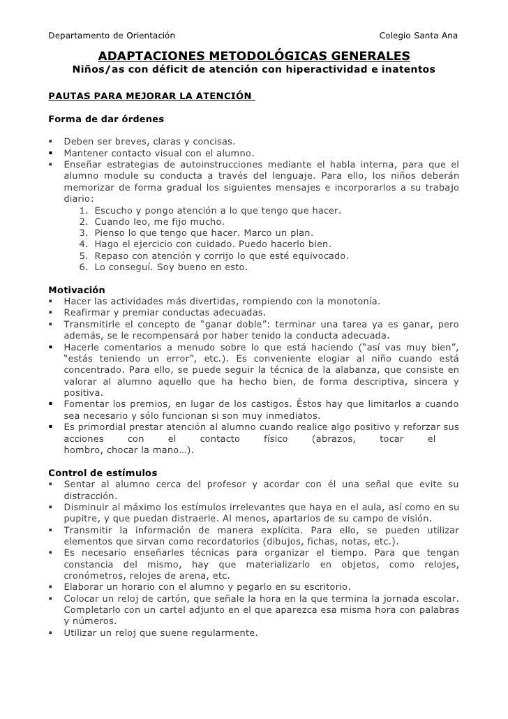 Departamento de Orientación                                          Colegio Santa Ana          ADAPTACIONES METODOLÓGICAS...
