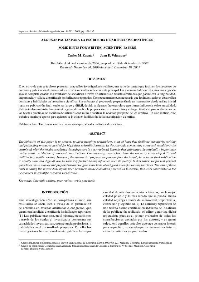 Pautas para redactar articulos cientificos