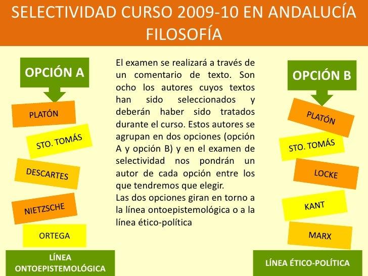 SELECTIVIDAD CURSO 2009-10 EN ANDALUCÍA<br />FILOSOFÍA<br />El examen se realizará a través de un comentario de texto. Son...