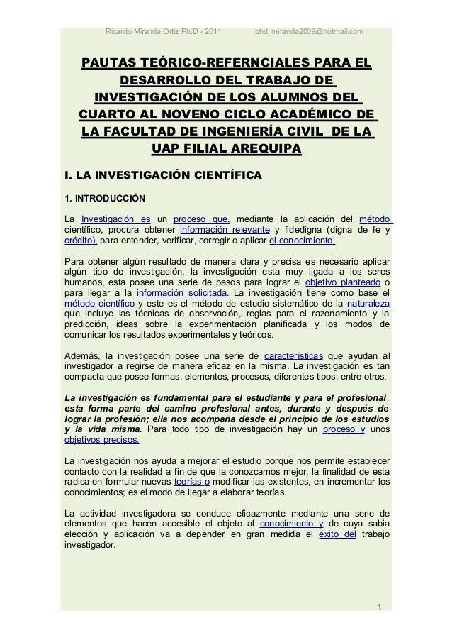 Ricardo Miranda Ortiz Ph.D - 2011   phd_miranda2009@hotmail.com   PAUTAS TEÓRICO-REFERNCIALES PARA EL        DESARROLLO DE...