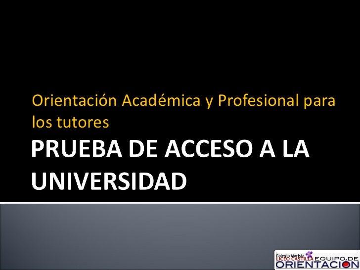 Orientación Académica y Profesional para los tutores