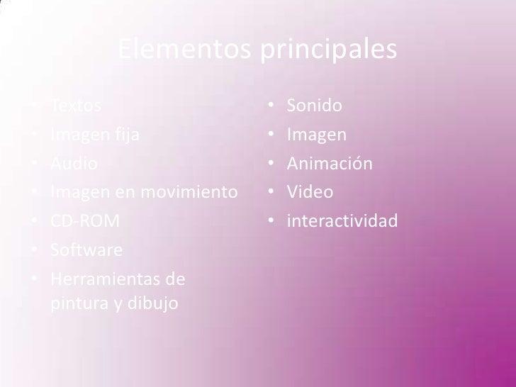 Elementos principales<br />Textos<br />Imagen fija<br />Audio <br />Imagen en movimiento<br />CD-ROM<br />Software<br />He...