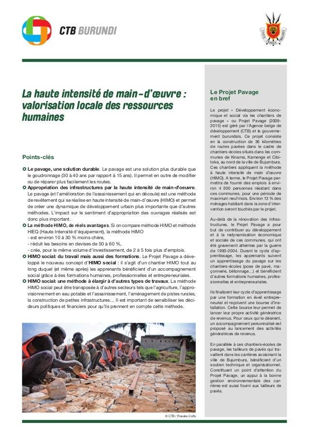La haute intensité de main-d'œuvre : valorisation locale des ressources humaines Points-clés › Le pavage, une solution dur...