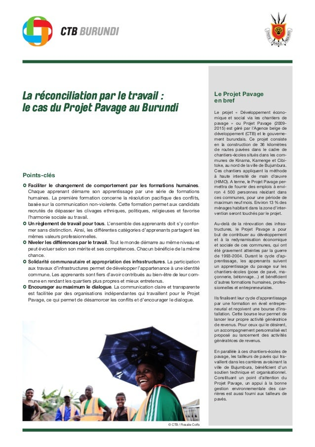 La réconciliation par le travail : le cas du Projet Pavage au Burundi Points-clés › Faciliter le changement de comportemen...