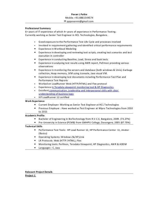Performance Test Resume - Professional Resume Templates •