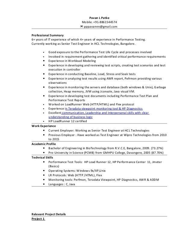 Pavan Patke - Performance Testing CV