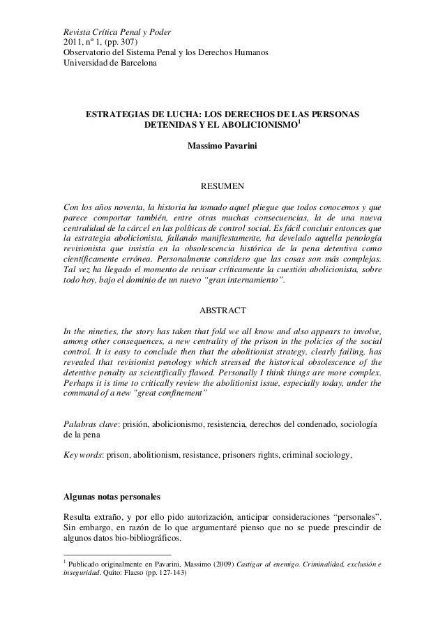 Revista Crítica Penal y Poder 2011, nº 1, (pp. 307) Observatorio del Sistema Penal y los Derechos Humanos Universidad de B...