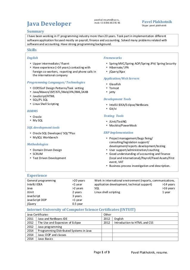 Senior java developer cover letter