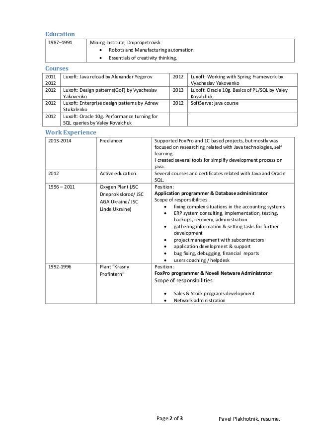 java basics 2 - Java Developer Resume