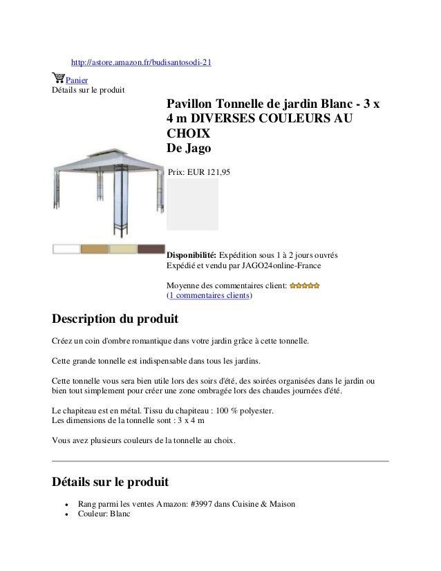http://astore.amazon.fr/budisantosodi-21PanierDétails sur le produitPavillon Tonnelle de jardin Blanc - 3 x4 m DIVERSES CO...