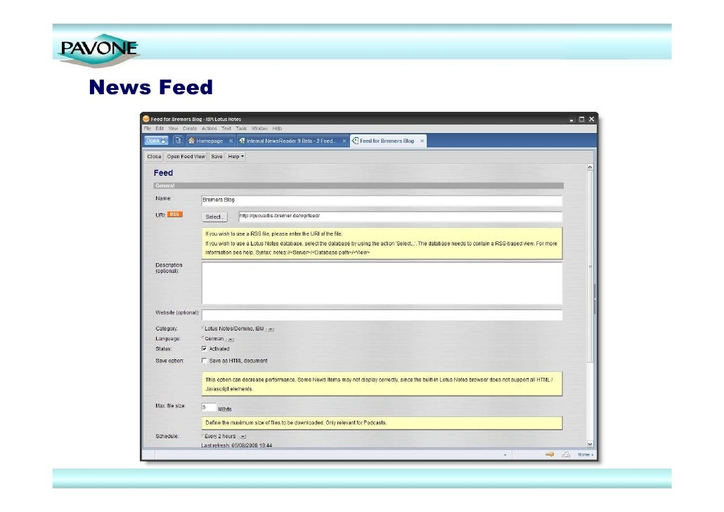 Rss Reader Complete Integration Within Ibm Lotus Notes Client