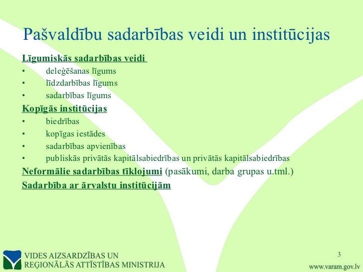 Pašvaldību sadarbības veidi un institūcijas   <ul><li>Līgumiskās sadarbības veidi  </li></ul><ul><li>deleģēšanas līgums </...