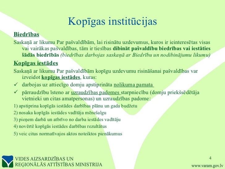 Kopīgas institūcijas <ul><li>Biedrības </li></ul><ul><li>Saskaņā ar likumu Par pašvaldībām, lai   risinātu uzdevumus, kuro...