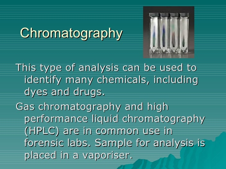 gas chromatography and the different use of drugs An analytical procedure for the detection of amphetamine and related drugs in urine is reported the method consists of a preliminary screening by thin-layer chromatography, followed by scraping the suspicious spots from the plates for confirmation by gas-liquid chromatography on different columns (carbowax 20 m and apiezon l.
