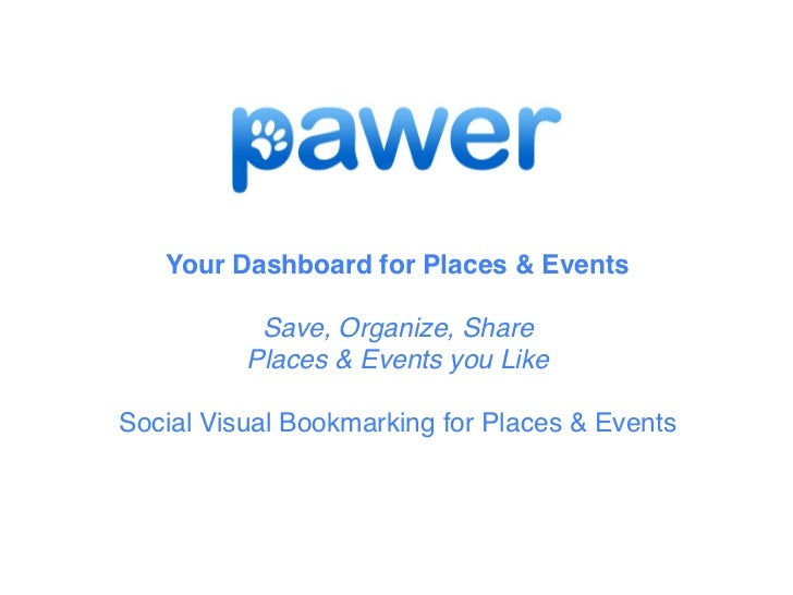Your Dashboard for Places & Events           Save, Organize, Share          Places & Events you LikeSocial Visual Bookmark...